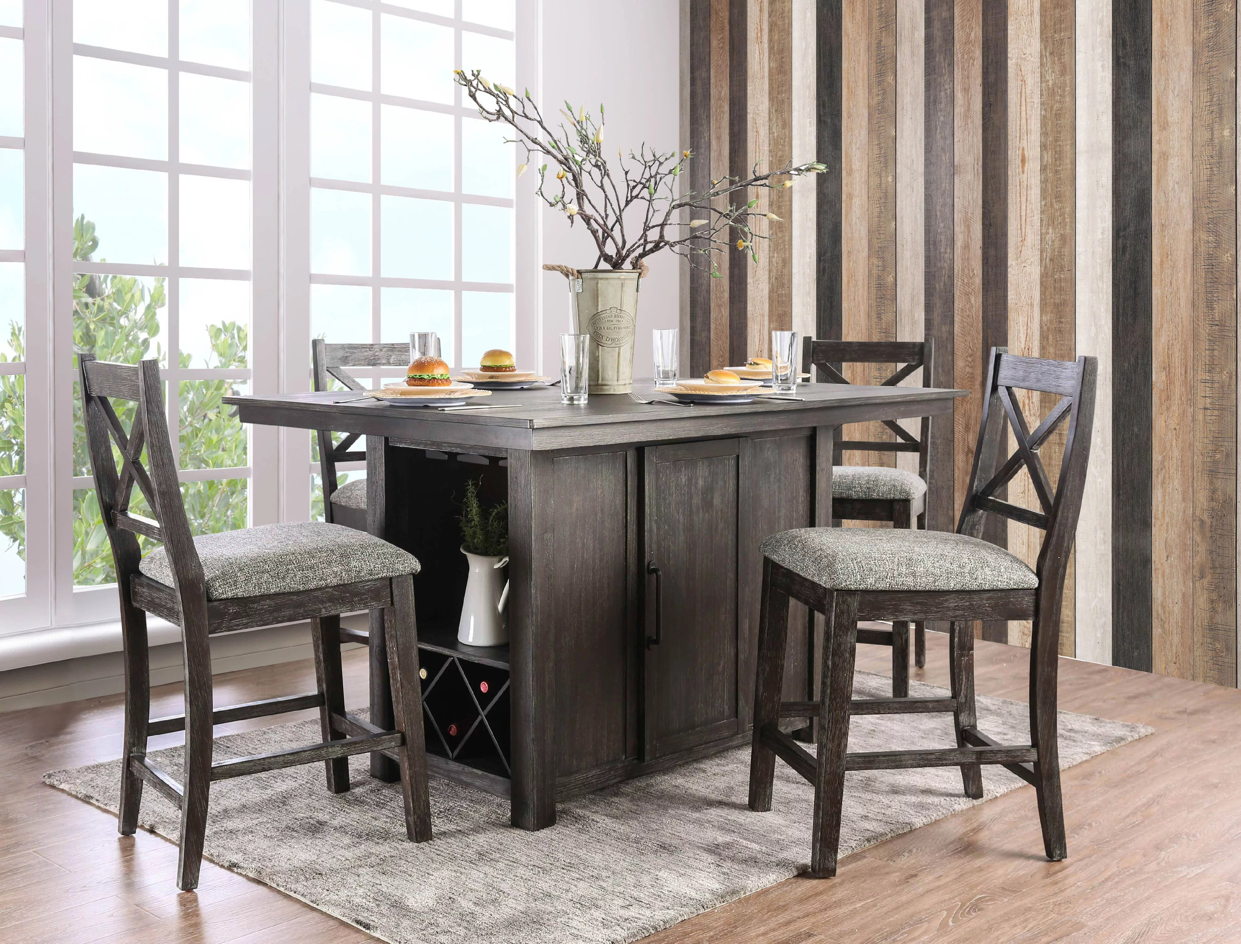 Furniture of America Toby 5-Piece Rustic Farmhouse Counter ... on Farmhouse Counter Tops  id=66205