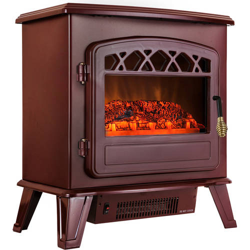 AKDY FP0039 20 1500W Freestanding Electric Fireplace Stove Heater With Vintage Glass Door