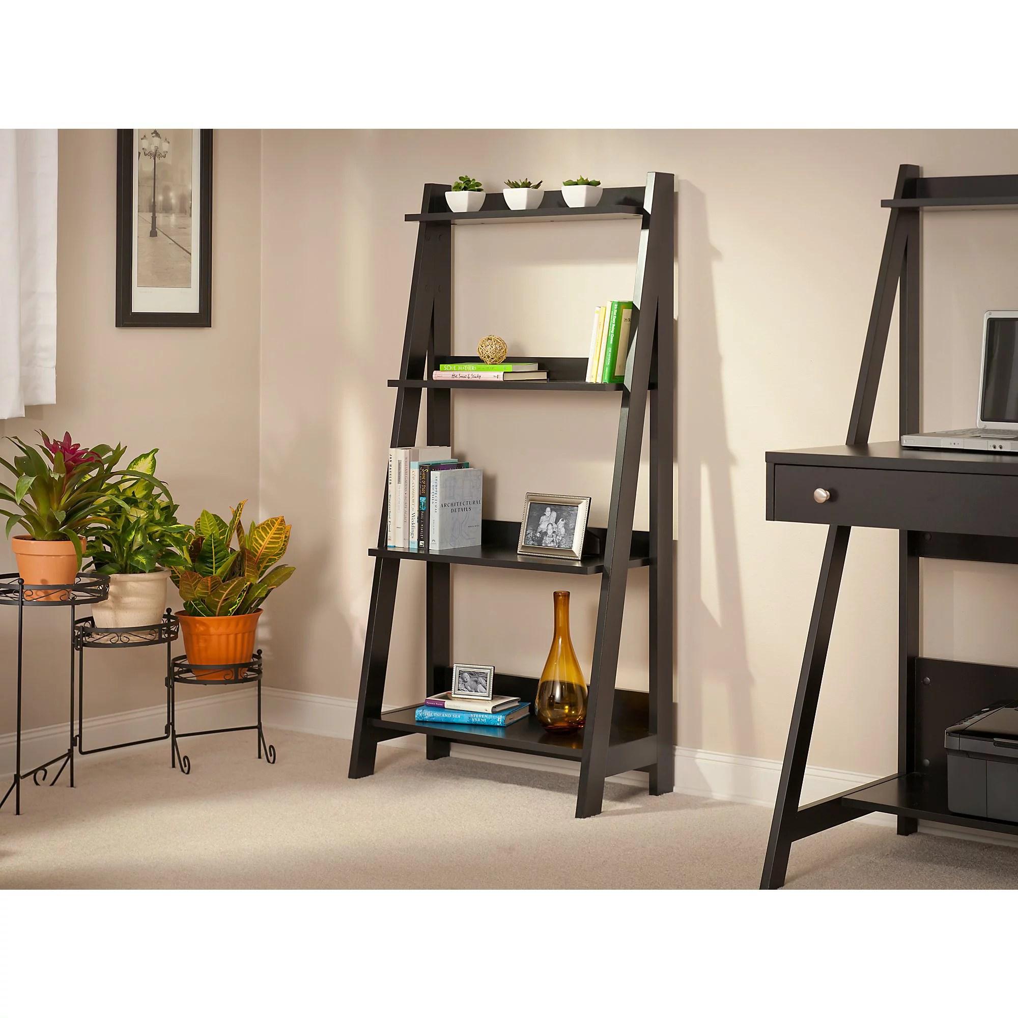 Bush Furniture Alamosa Ladder Bookshelf In Classic Black Walmart Com
