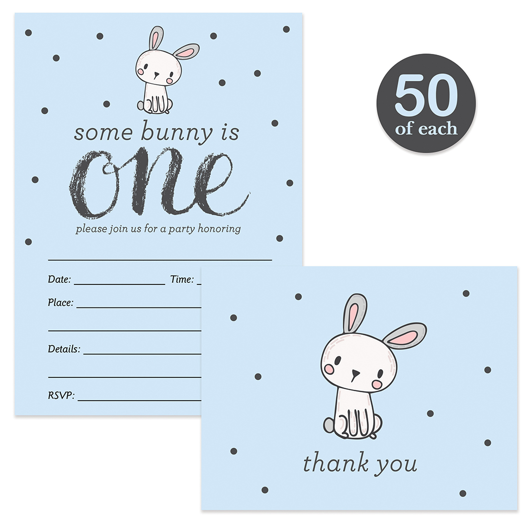 boy s 1st birthday invitations matching thank you notes with envelopes set 50 of each one year old son baby s first b day cute blue bunny