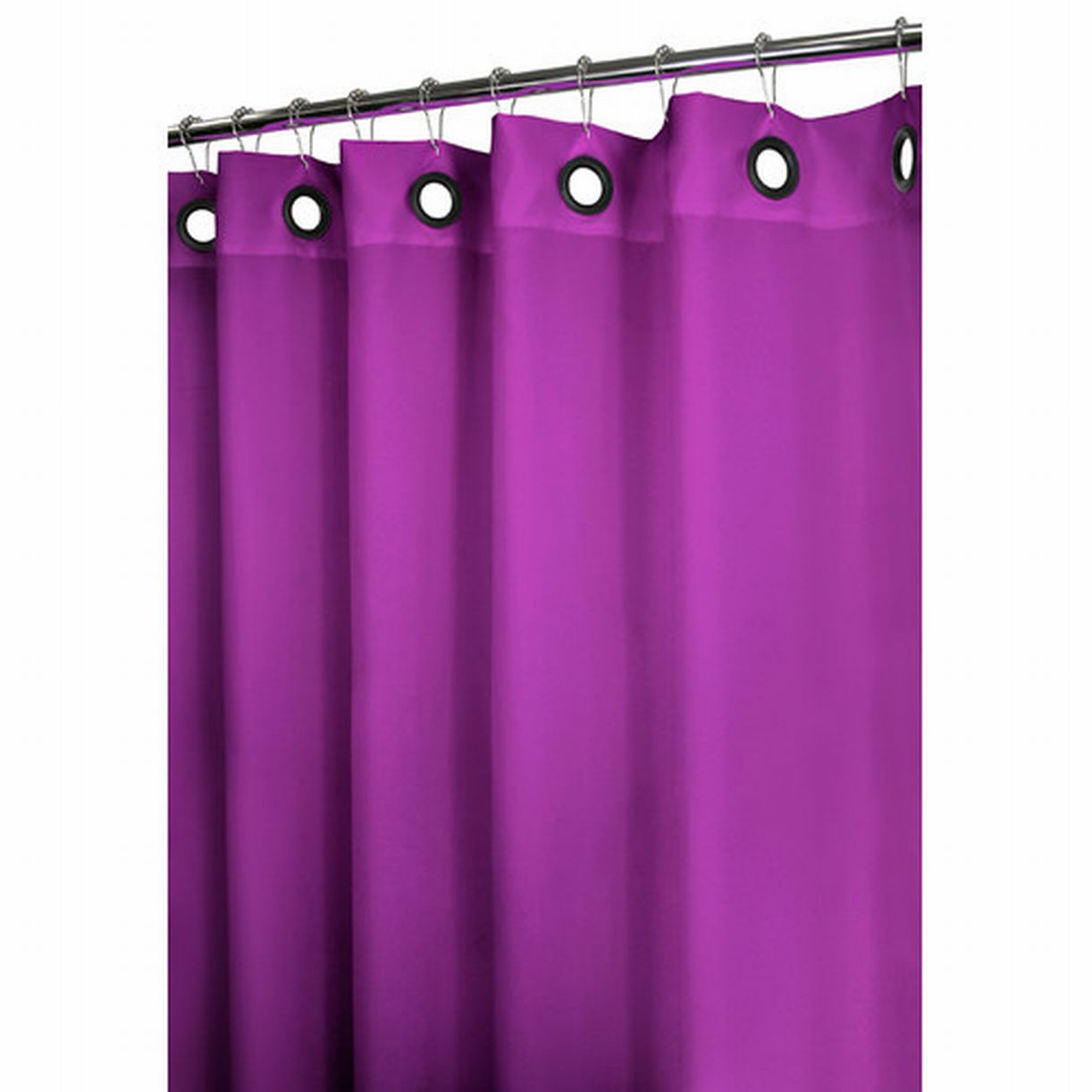 Watershed Solid Purple Fabric Shower Curtain With Large Grommet Option Bath