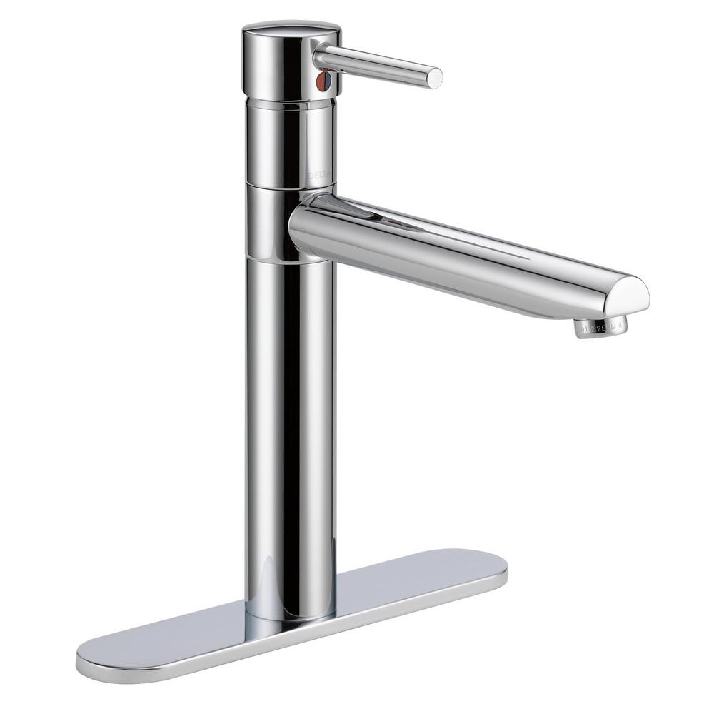 delta 1158lf trinsic single handle standard kitchen faucet featuring high arc swivel spout chrome new open box walmart com