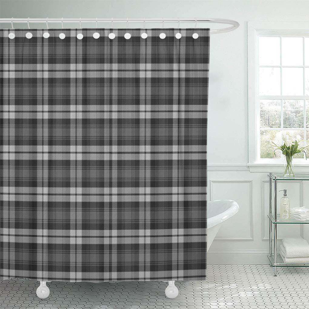 cynlon gray checks grey watch scottish tartan plaid black white bathroom decor bath shower curtain 60x72 inch walmart com