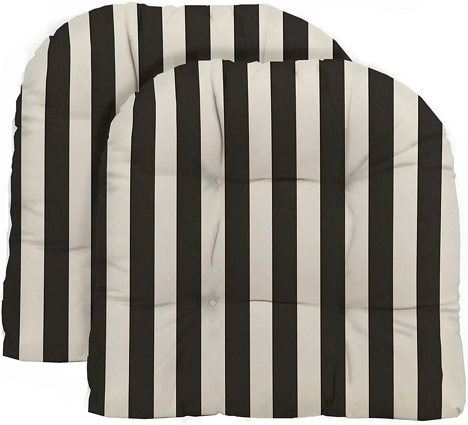 rsh decor indoor outdoor set of 2 u shape wicker tufted seat cushions patio weather resistant black and white stripe 19 x 19