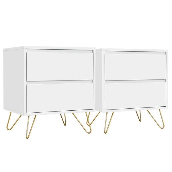 set of 2 modern white bedroom nightstands with gold accents