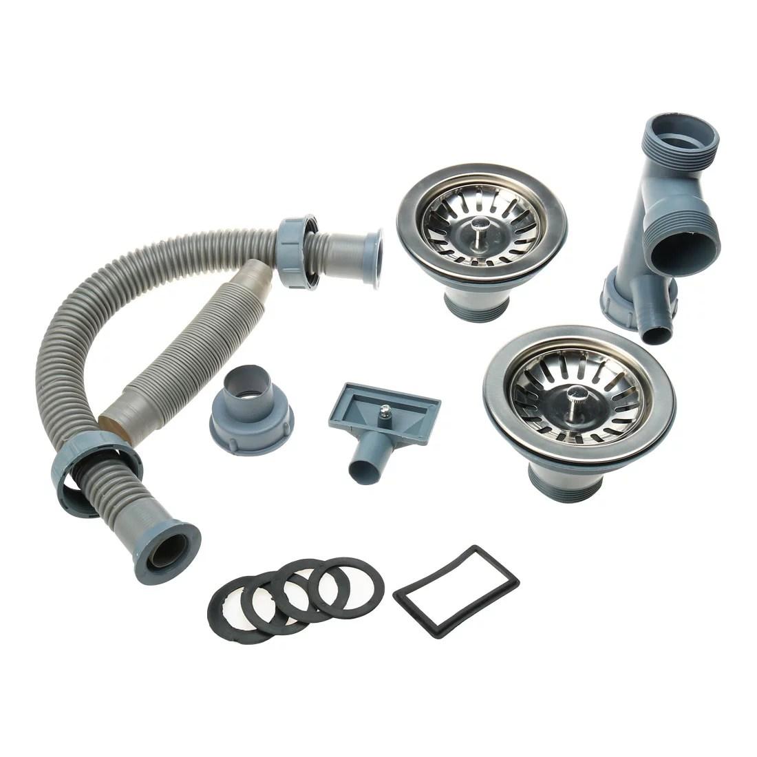 unique bargains kitchen sink double strainer flexible basket drain pipes hose set