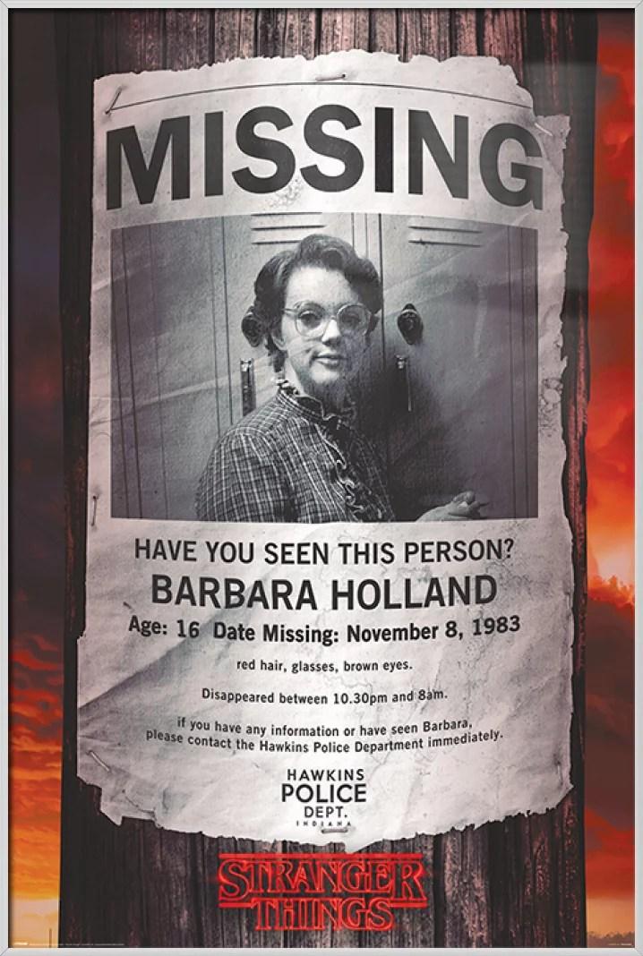 stranger things framed tv show poster missing barbara holland barb size 24 x 36 walmart com