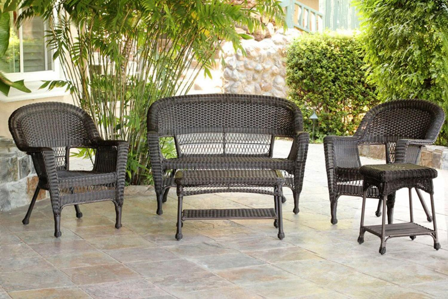resin wicker patio furniture sets 5-Piece Espresso Resin Wicker Patio Chairs, Loveseat and