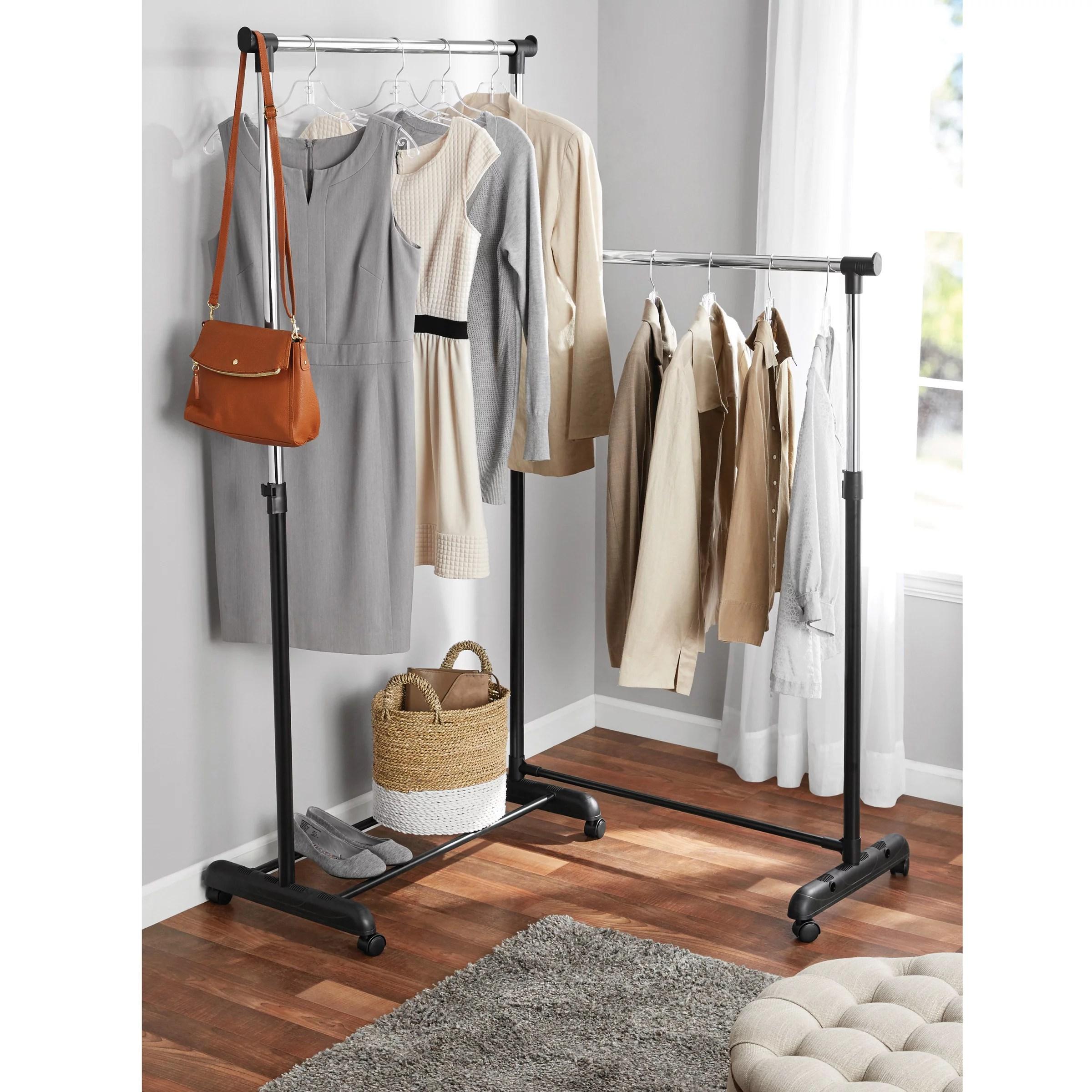 mainstays chrome black adjustable rolling corner garment rack