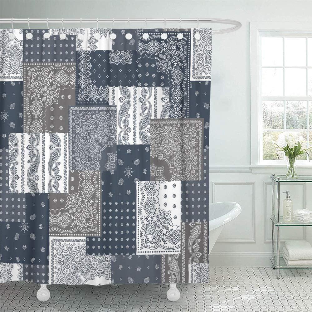 pknmt paisley bandanna pattern design scarf vintage ethnic patchwork delicate industrial bathroom shower curtain 66x72 inch