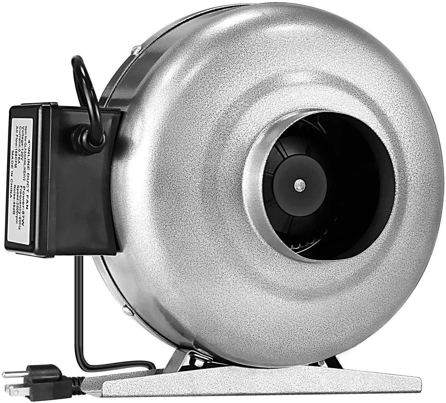 ipower 4 inch 190 cfm inline duct ventilation hvac vent blower fan for grow tent silver walmart com