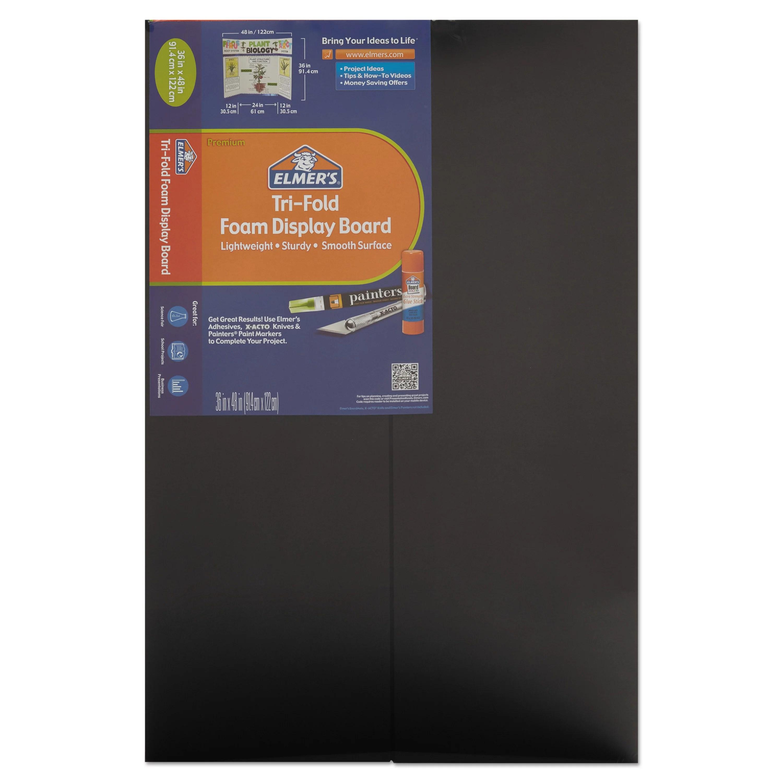 elmer s premium foam tri fold display board 3 16 thick 36 x 48 black single