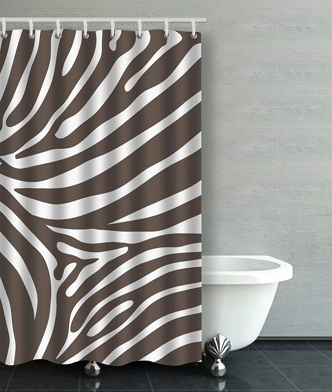 artjia gray brown and white zebra print stripes animal print bathroom shower curtain 36x72 inches walmart com
