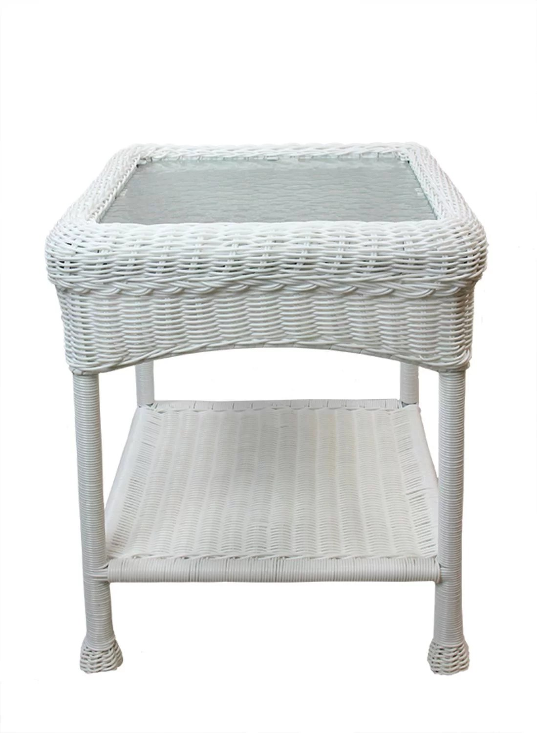 22 white resin wicker outdoor patio side table with glass top and storage shelf