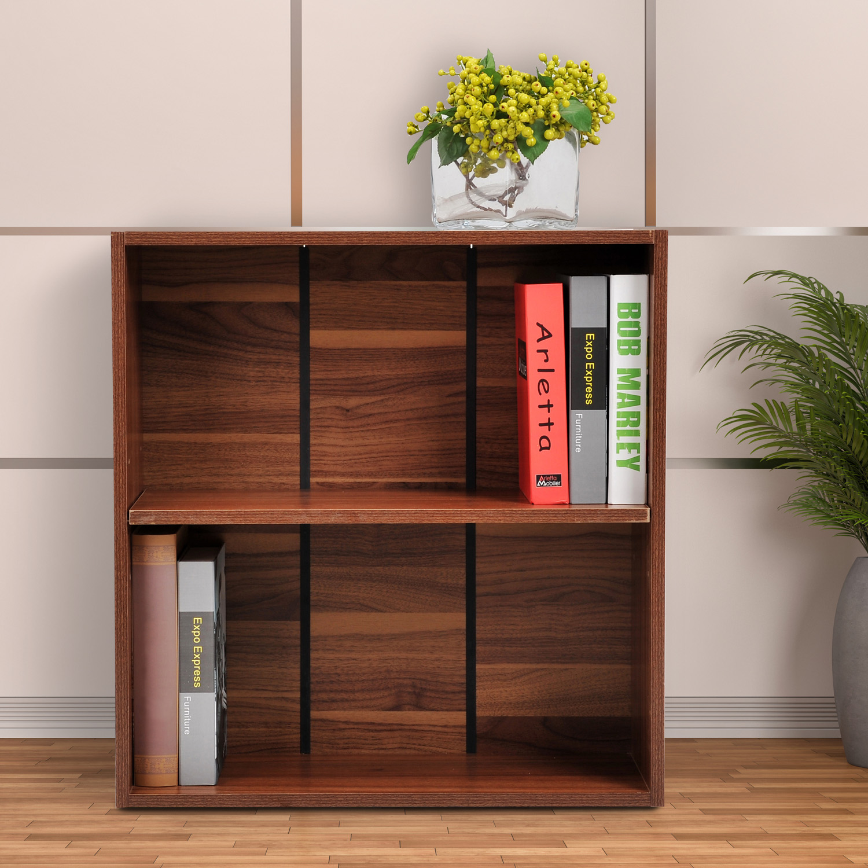 petite bibliotheque en bois meuble de rangement pour bureau a domicile 2 rangees