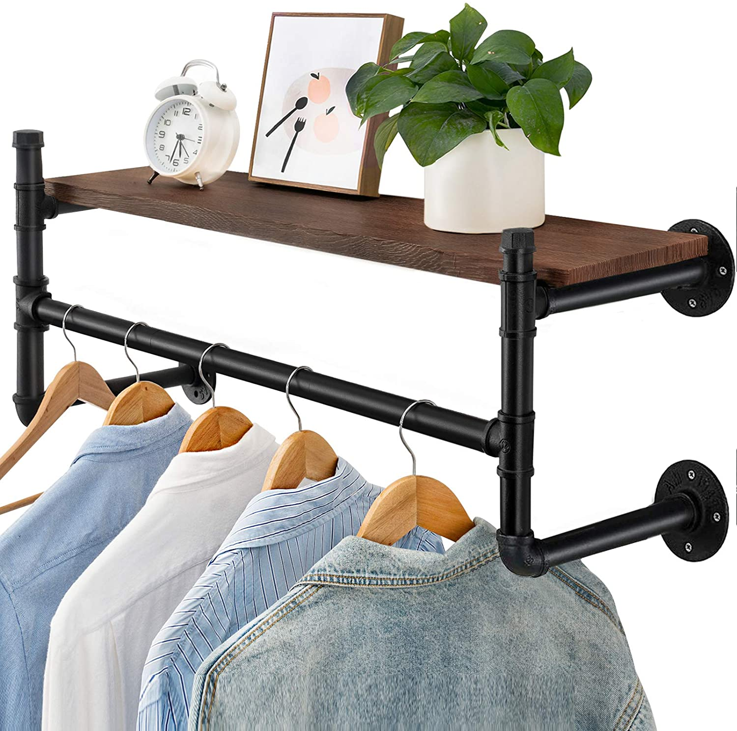 industrial pipe clothes rack heavy duty wall mounted black iron garment rack bar multi purpose hanging rod for closet storage laundry room 44