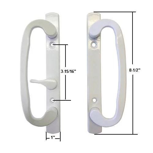 sliding glass patio door handle set mortise type white 3 15 16 screw holes fits sash controls stamped 2265 by technologylk walmart com