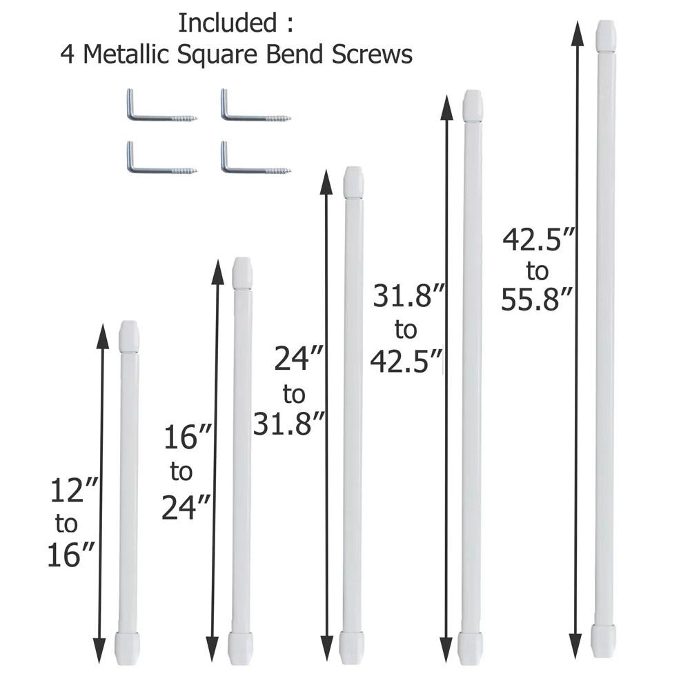 evideco adjustable flat sash curtain single rod set of 2