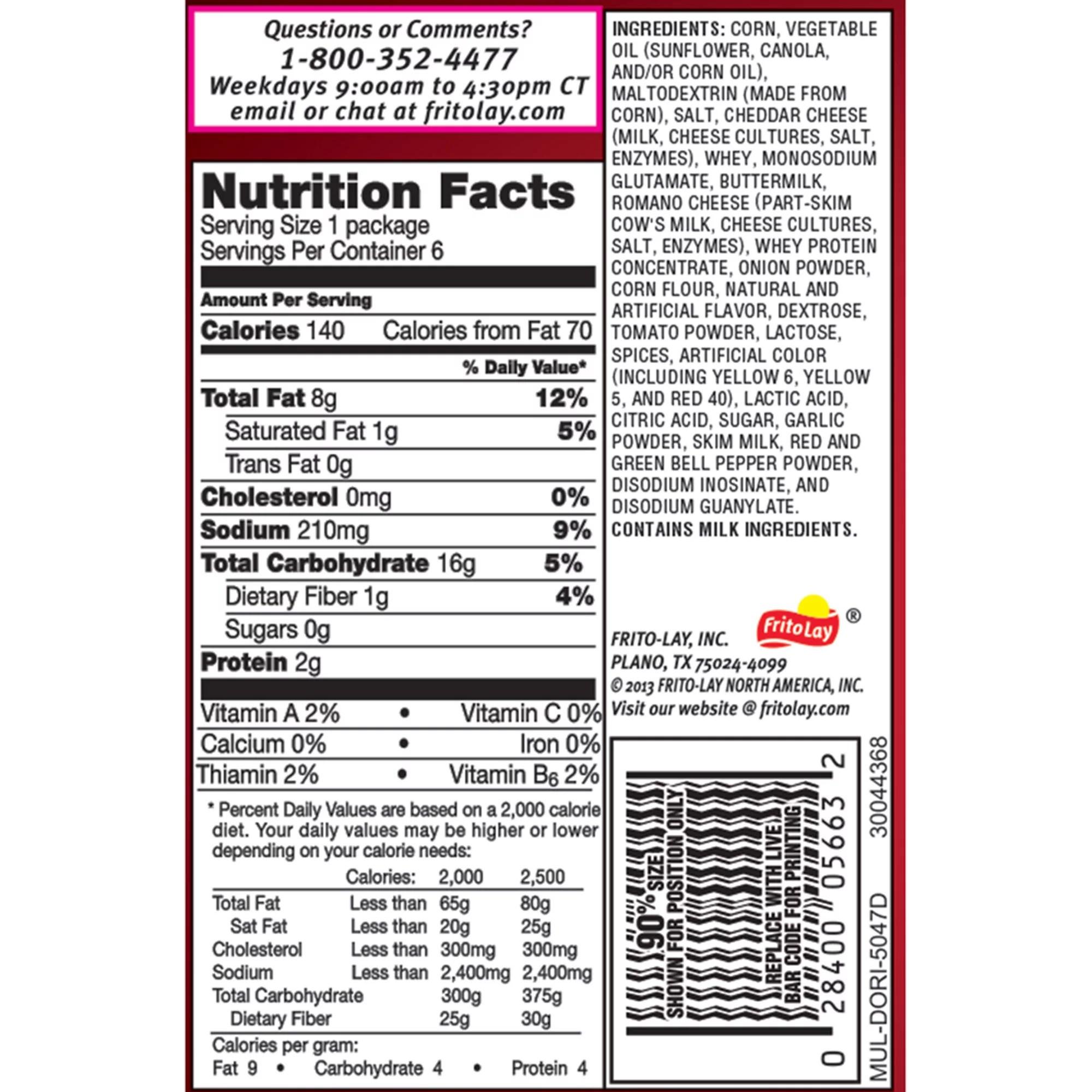 Doritos Small Bag Nutrition Facts
