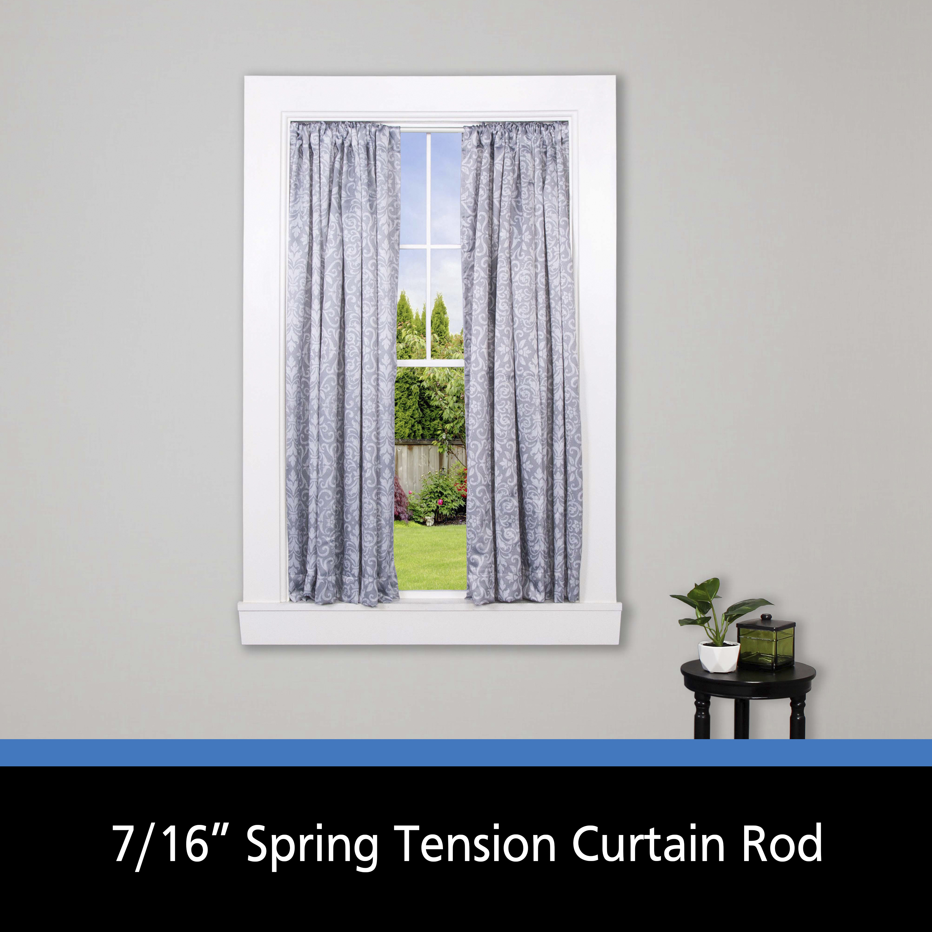mainstays 28 48 in adjustable spring tension curtain rod 7 16 in diameter white