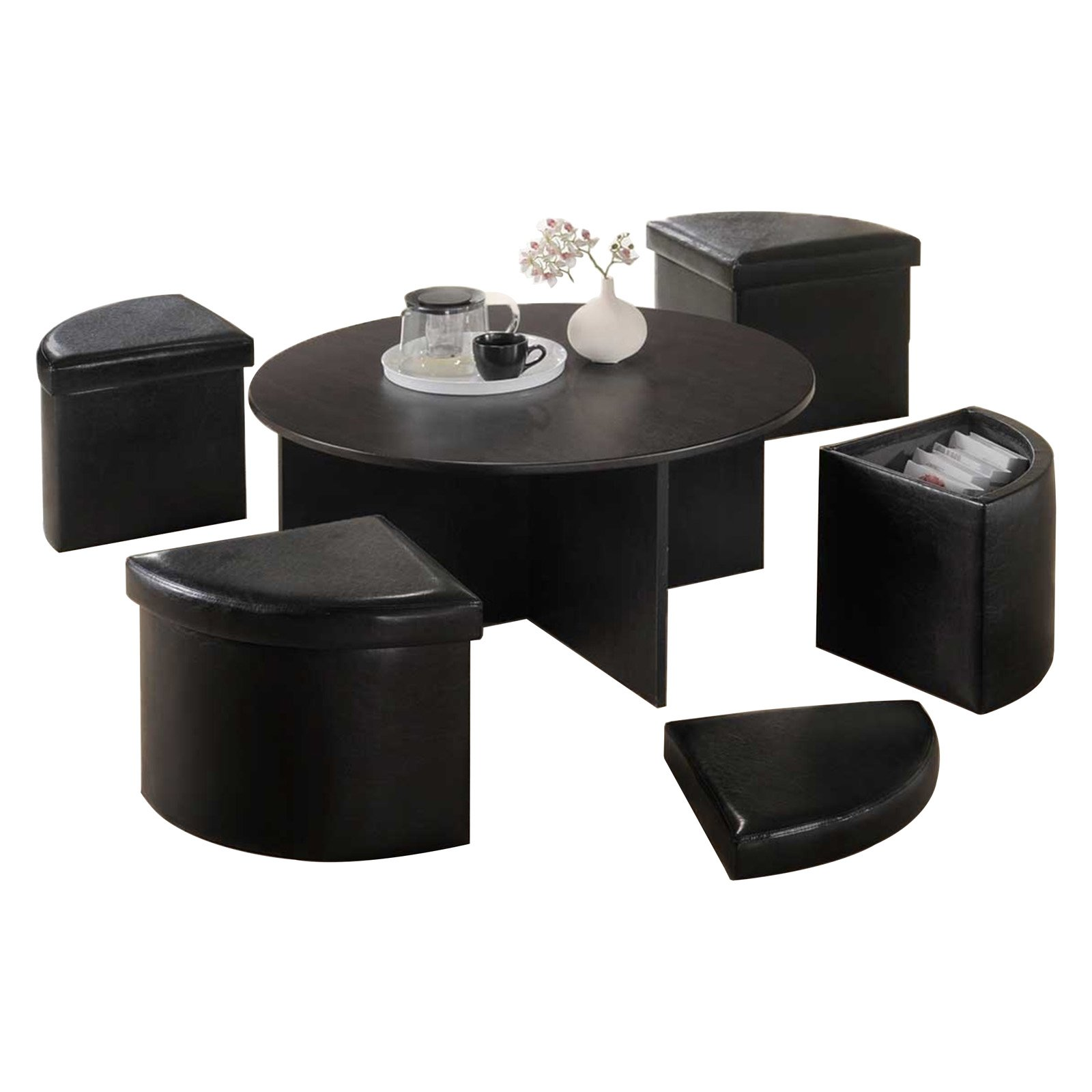 oakland living space saving modern black coffee table with nesting ottomans