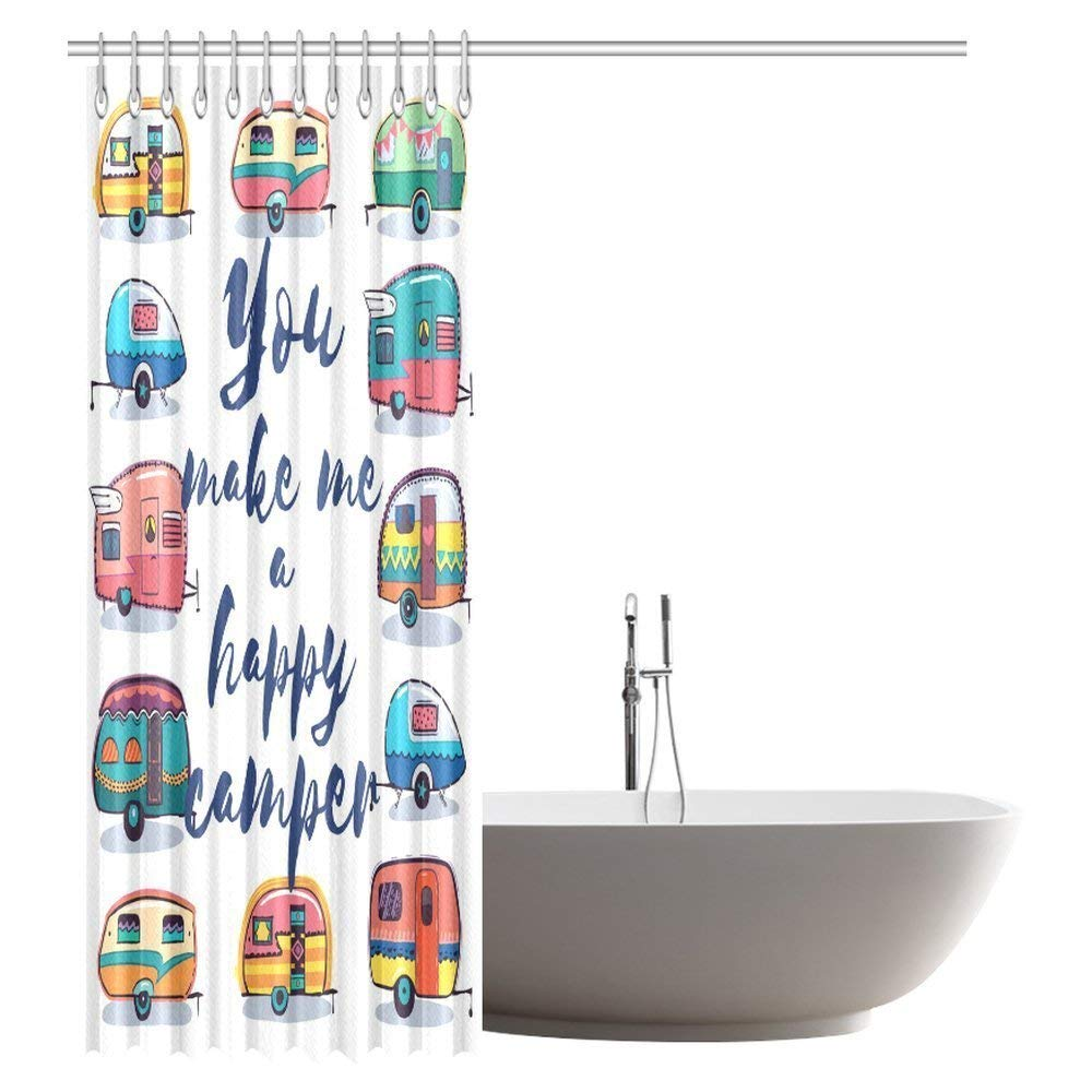 gckg camper shower curtain you make me happy camper motivational quote with caravans retro style travel graphic bathroom shower curtain with hooks