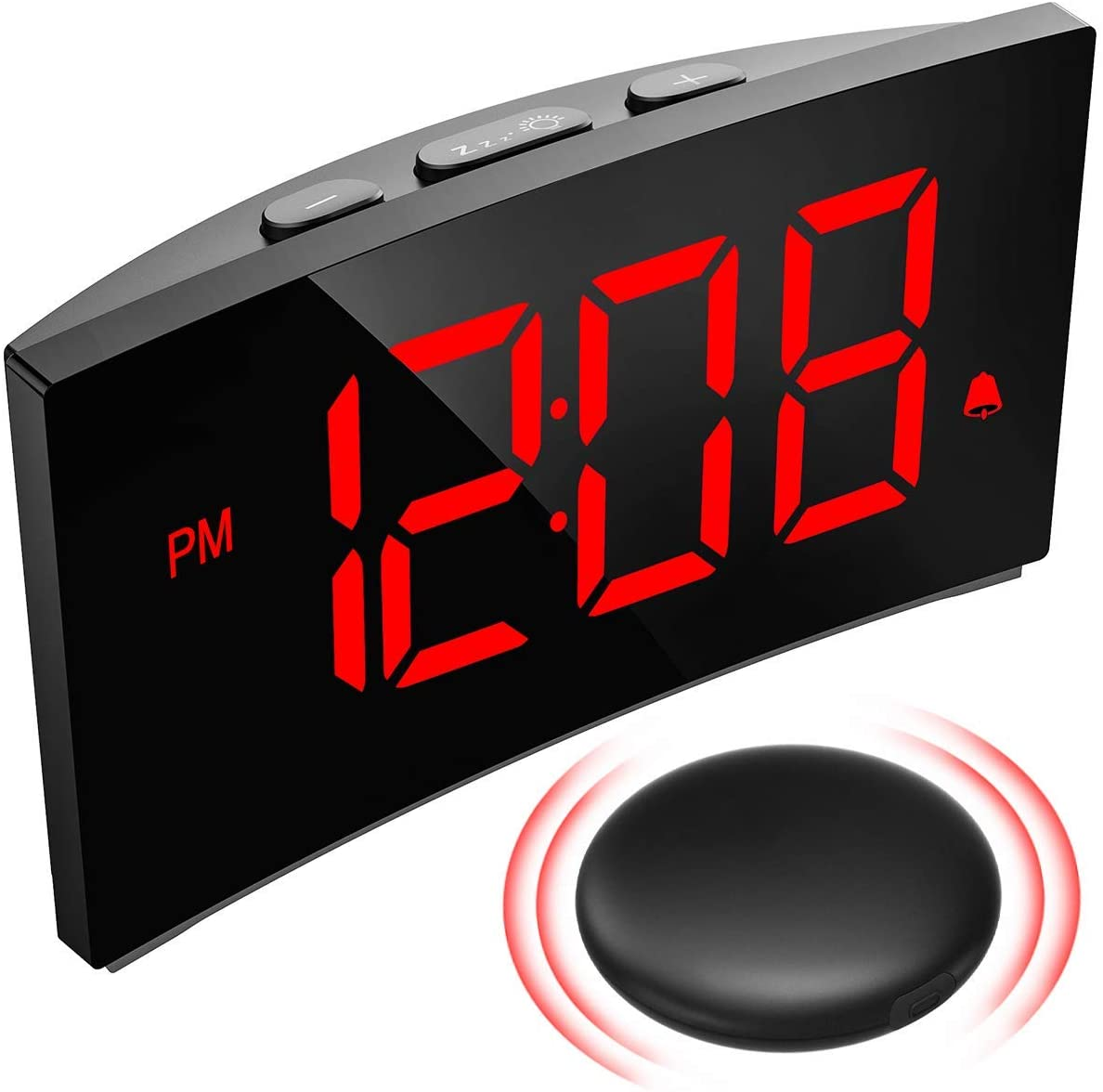 pictek loud alarm clocks with wireless bed shaker vibrating alarm clock for heavy sleepers hearing impaired deaf