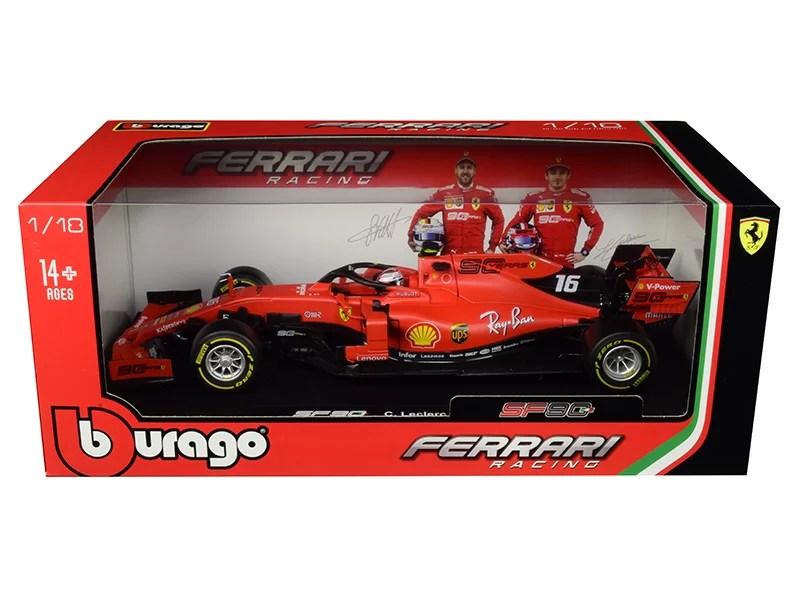 ferrari sf90 16 charles leclerc f1 formula 1 2019 1 18 diecast model car by bburago