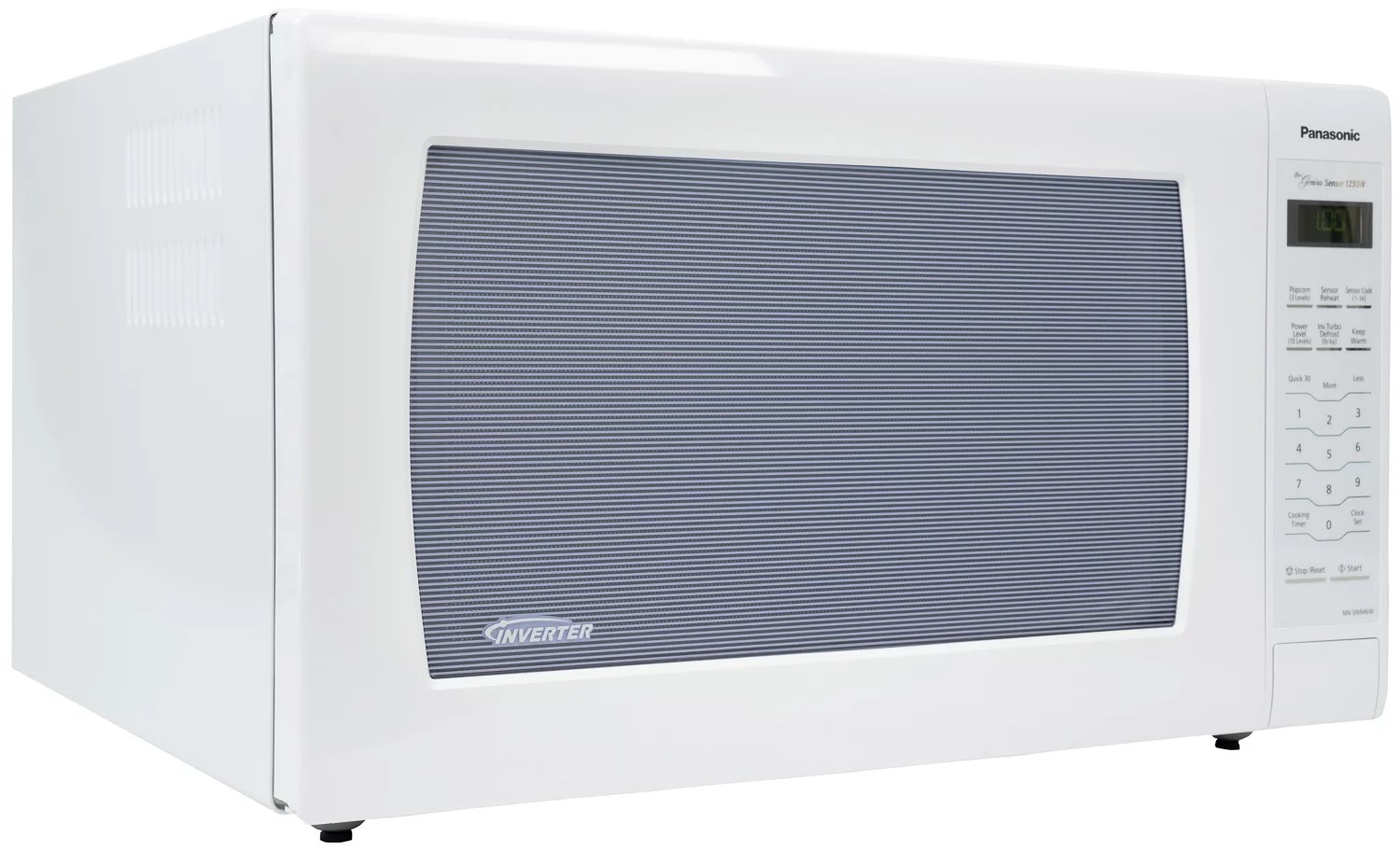 panasonic 2 2 cu ft countertop microwave oven 1250w inverter power genius cooking sensor and turbo defrost white exterior nn sn946w