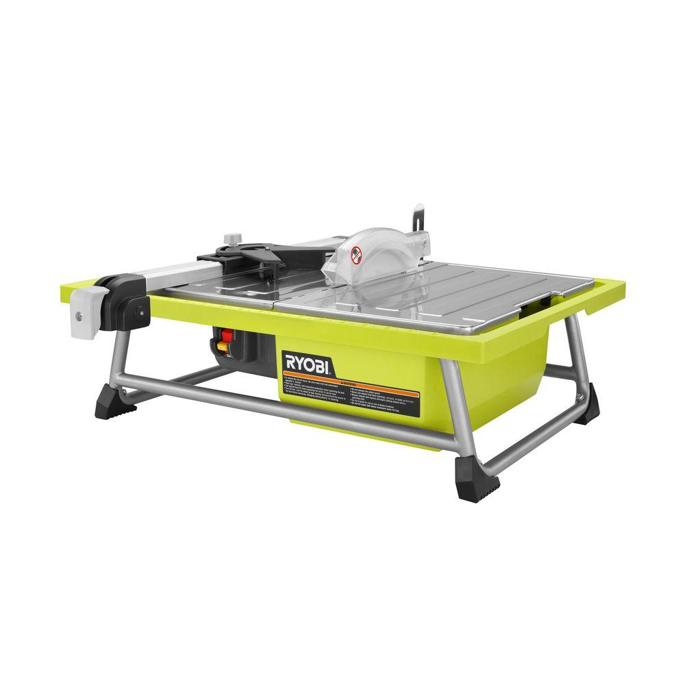 ryobi ws722 7 inch 4 8 amp portable tabletop wet tile saw with miter guide and induction motor new open box walmart com