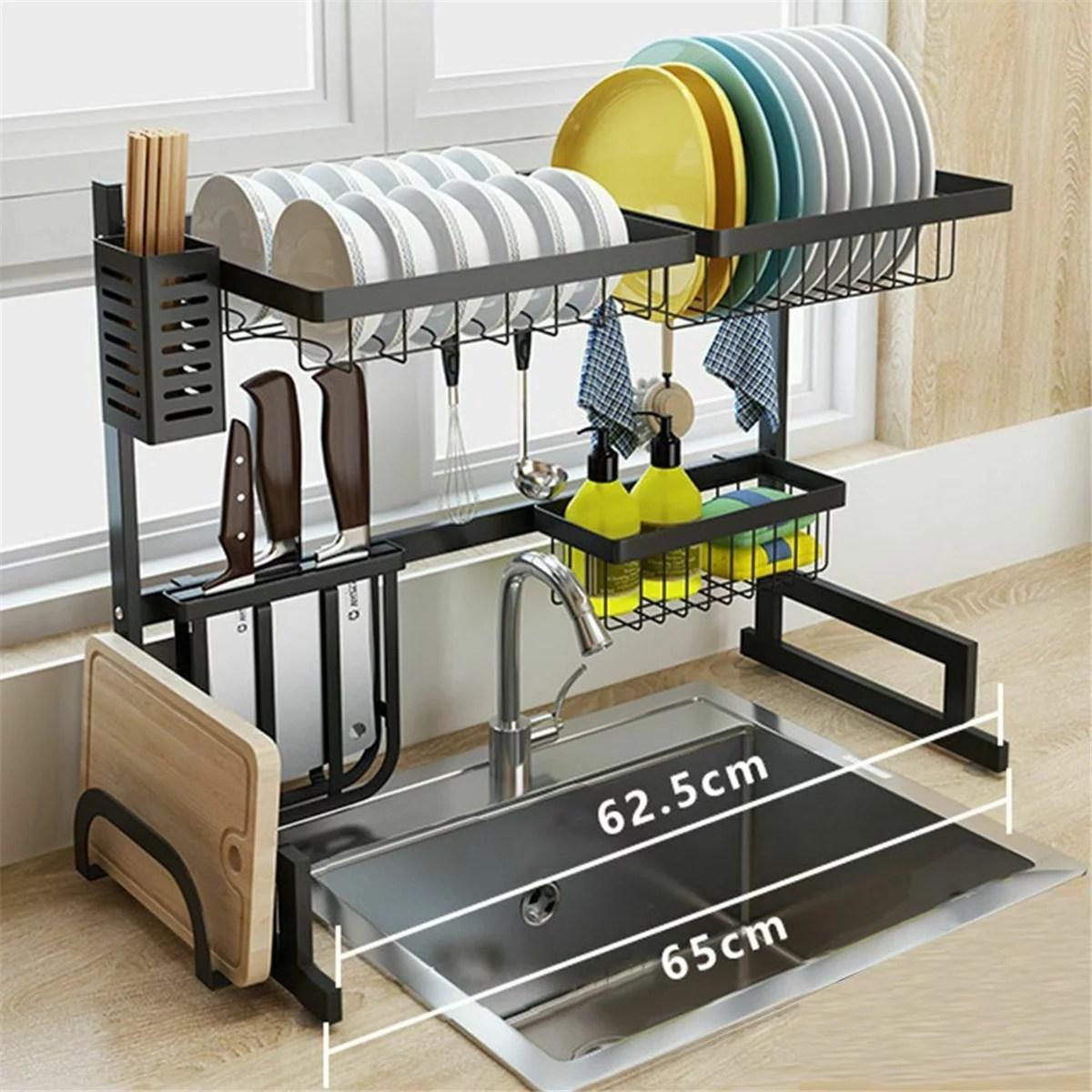 dish drying rack over sink rack stainless steel over the sink drainer shelf storage rack utensils holder display stand with utensil holder drain
