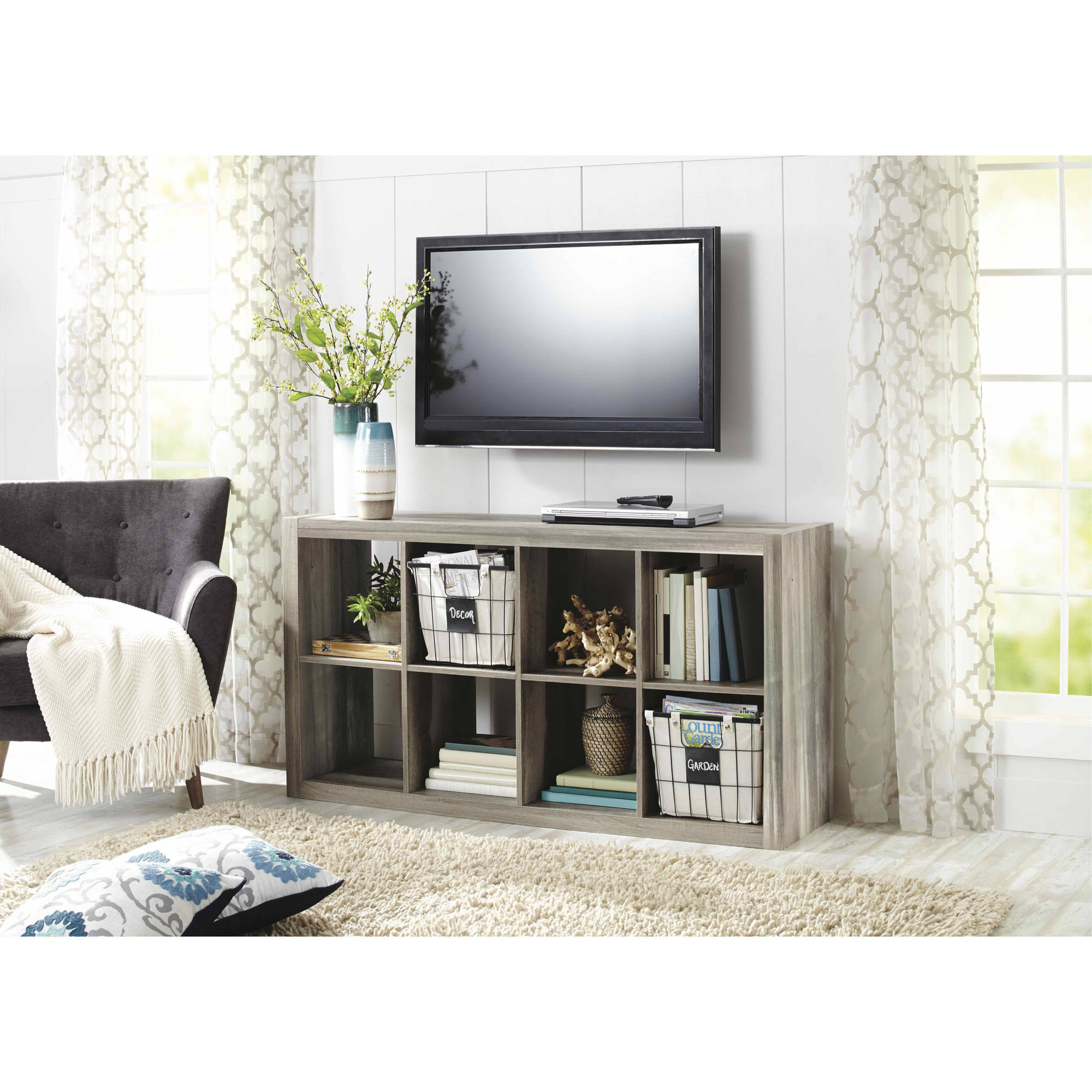 Details About 8 Cube Storage Organizer Shelf Tv Stand Bookcase Dorm Furniture Rustic Gray Wood
