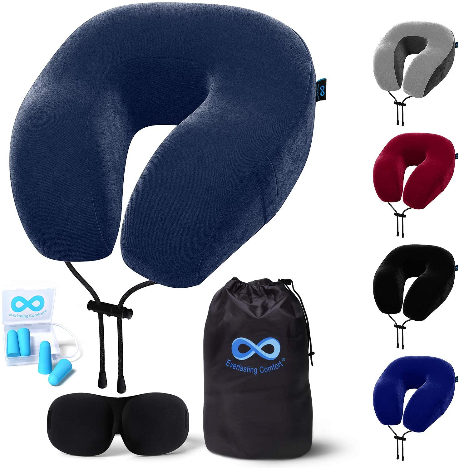 everlasting comfort memory foam travel pillow includes eye masks and earplugs neck pillow for airplane navy blue