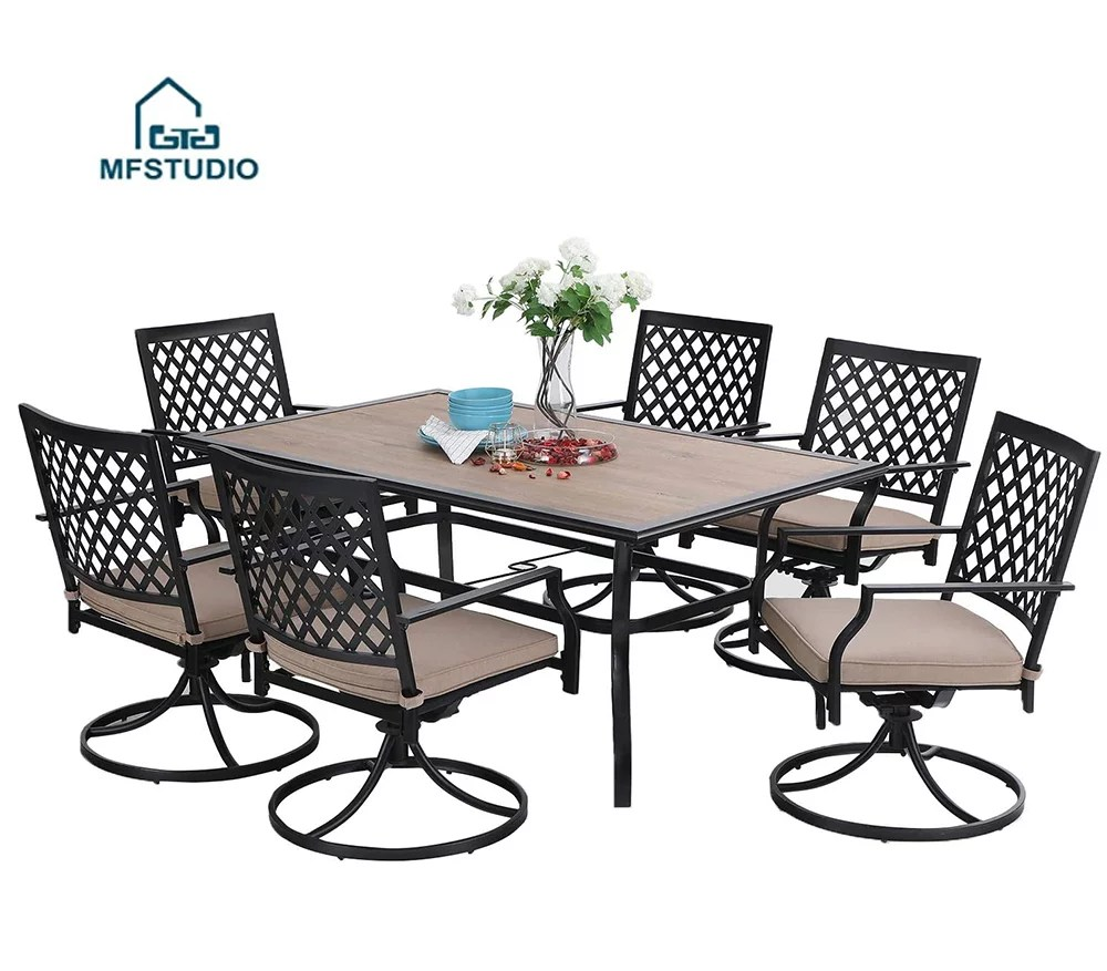 mf studio 7pcs outdoor patio dining set metal furniture set 6 x swivel chairs with 1 rectangular umbrella wood like table for outdoor lawn garden