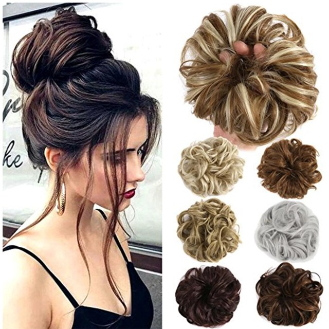 florata ponytail buns wrap bun chignon hair extensions wavy curly wedding donut hair extensions hairpiece wig