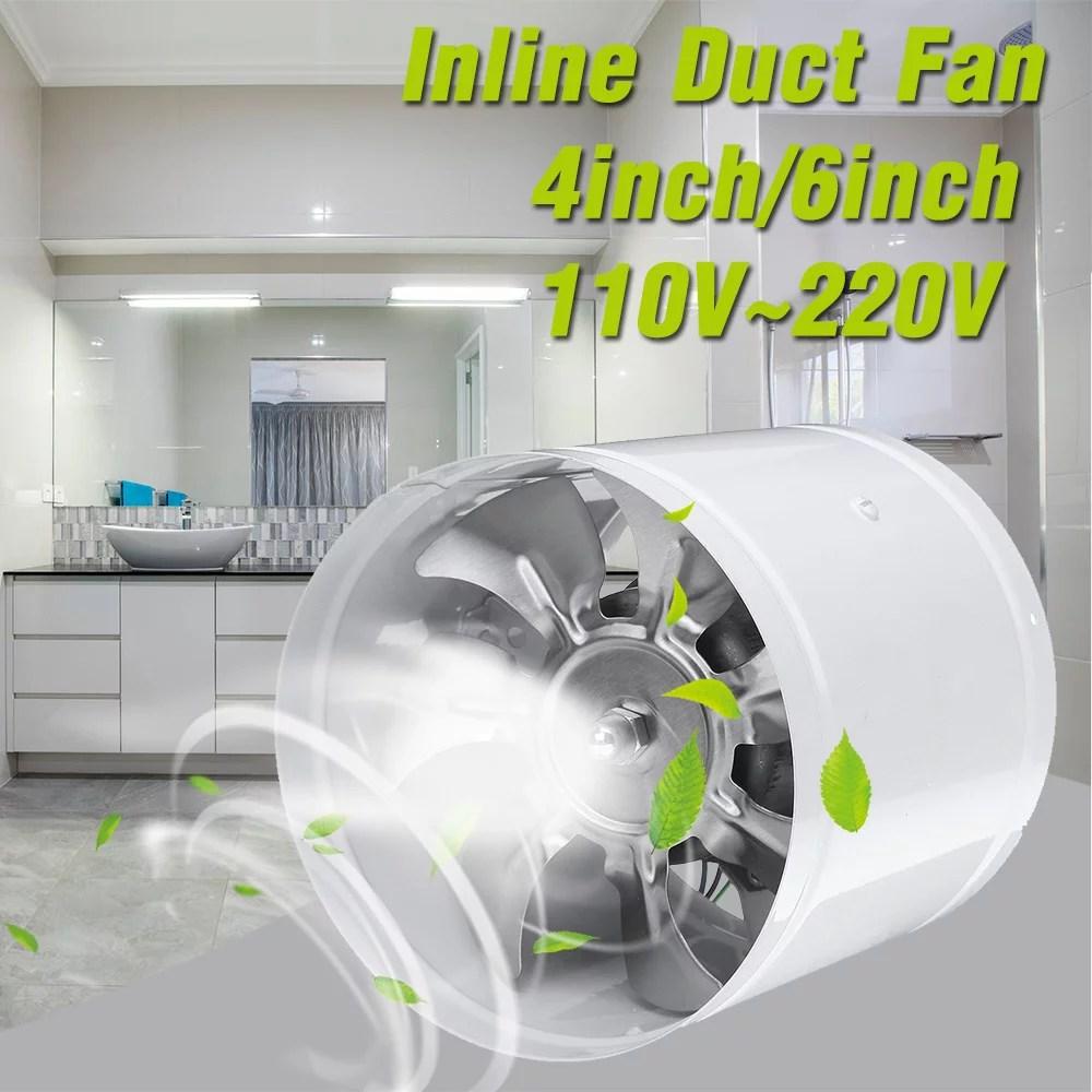 110v 4 6 25w exhaust fan inline duct booster fan high speed silent exhaust fan blower air fresh bathroom kitchen ventilation system walmart com