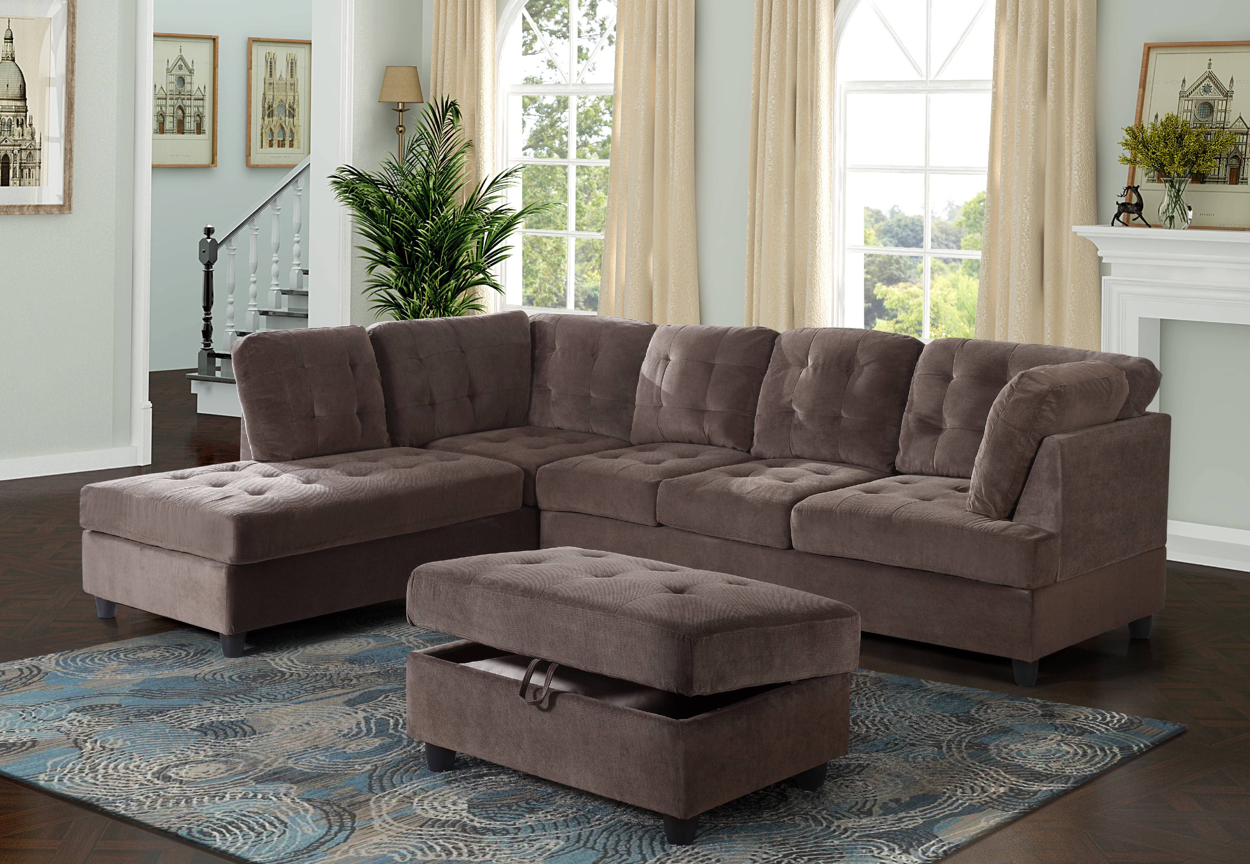 aycp furniture corduroy l shape sectional sofa with storage ottoman espresso left hand facing chaise