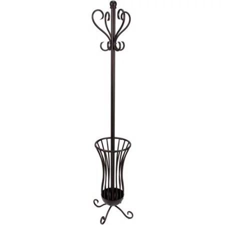 generic traditional metal coat rack with umbrella stand bronze finish