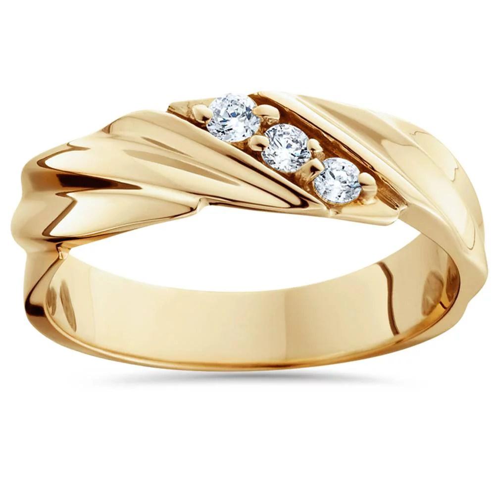 110ct Diamond 14K Yellow Gold Mens Wedding Ring