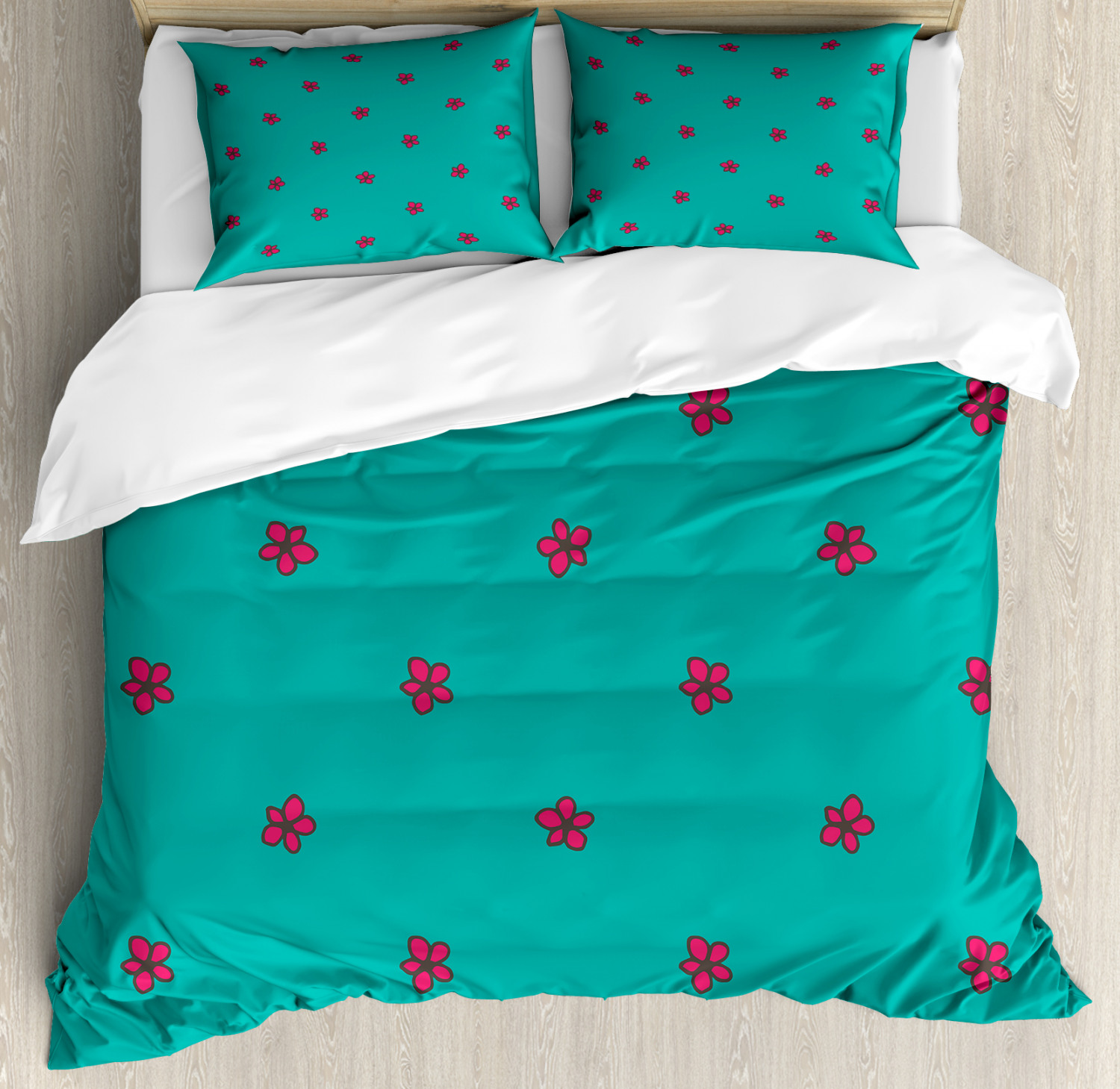teal queen size duvet cover set hand drawn pink wild flowers pattern on teal background flora theme nature inspired decorative 3 piece bedding set