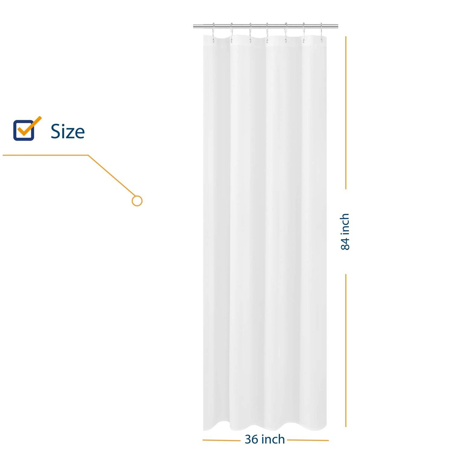 n y home fabric small stall shower curtain liner extra long 36 x 84 inches hotel quality washable water repellent white bathroom curtains with