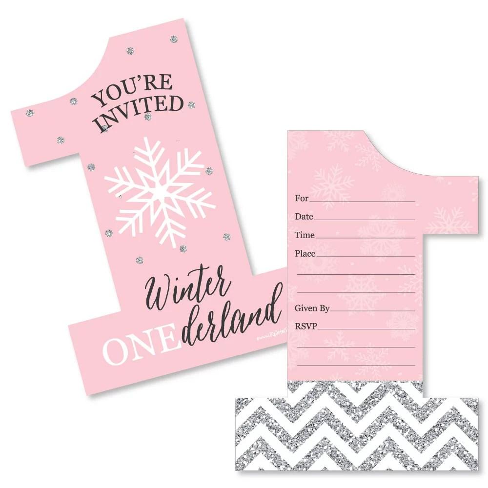pink onederland shaped fill in invitations holiday snowflake winter wonderland birthday party invitation 12 ct walmart com