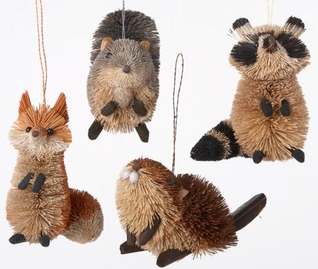 Kurt Adler   Inch Buri Woodland Animal Christmas Ornaments