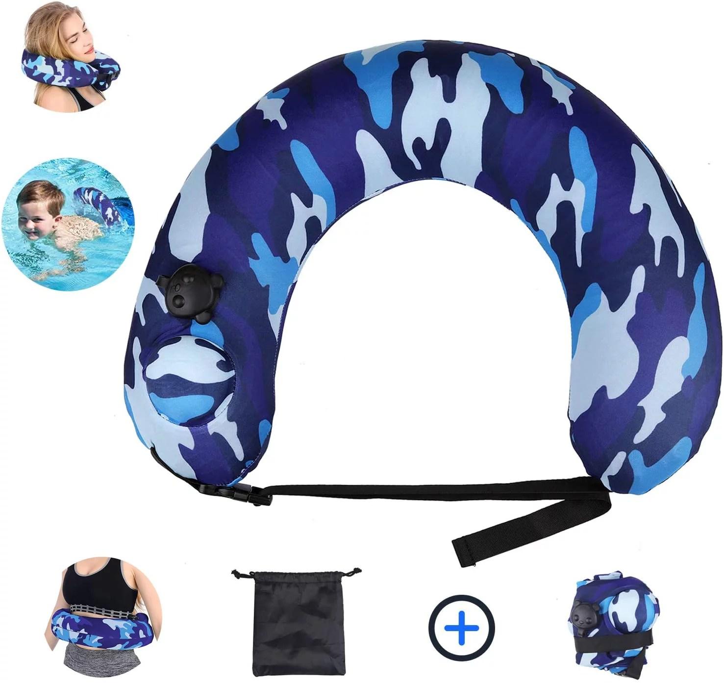 amerteer portable swim trainer swimming belt for kids adults inflatable neck pillow for airplane travel life belts kickboard for kids flotation