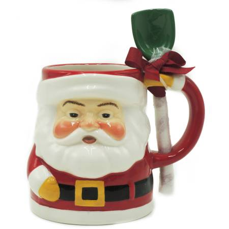 Holiday Time Santa Mug with Spoon, Set of 4