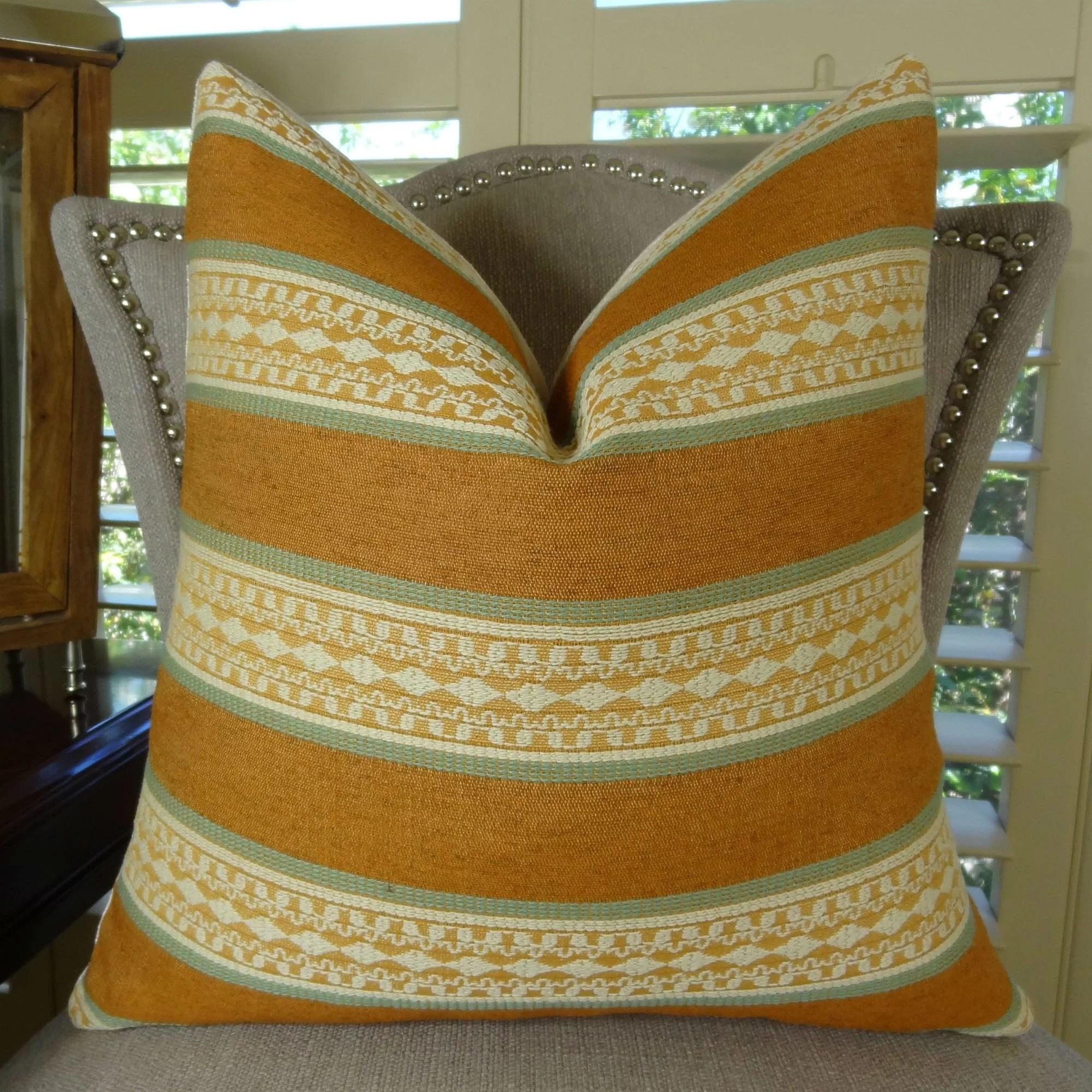 thomas collection copper orange green cream striped throw pillow 11037