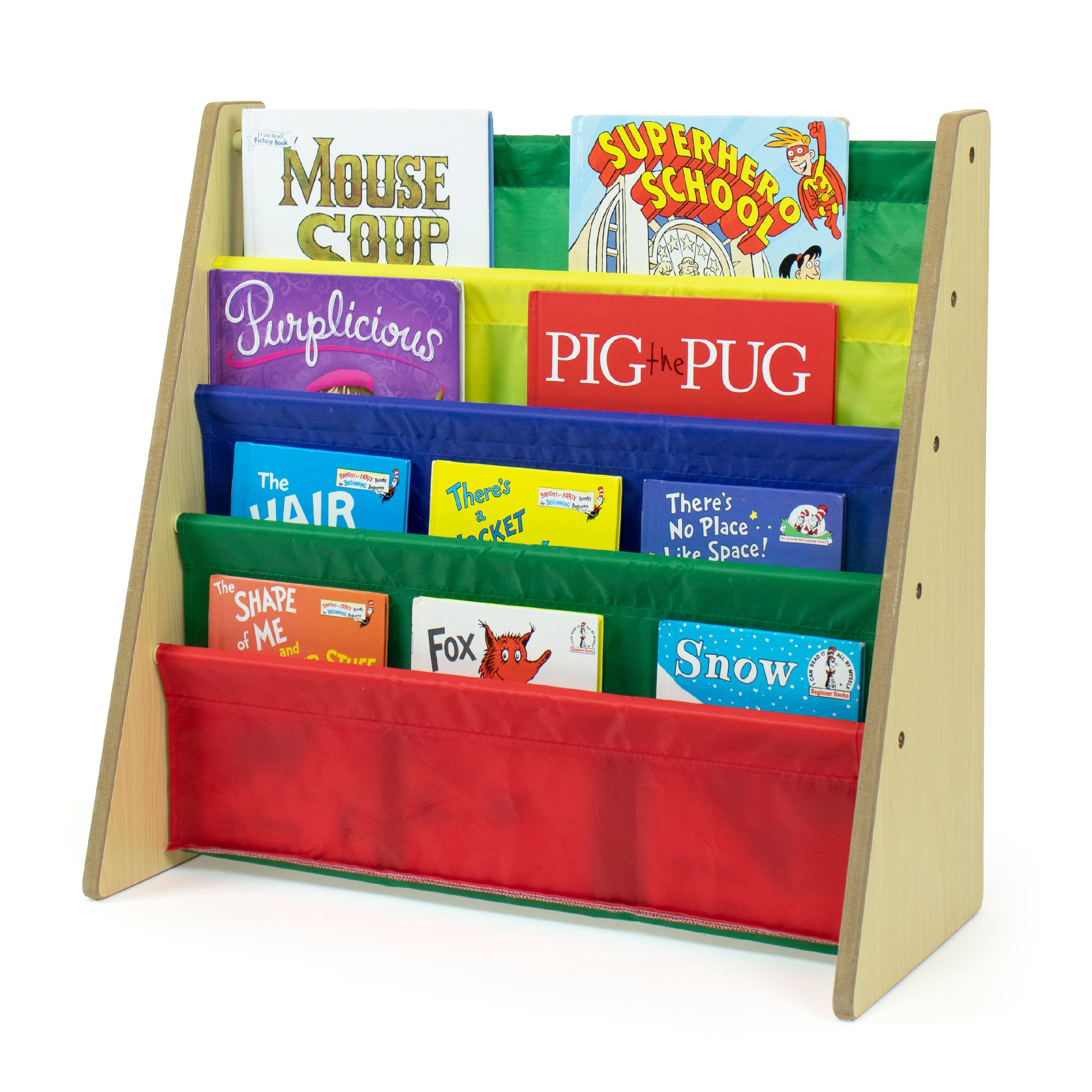 humble crew kids book rack with fabric sling sleeves multiple colors walmart com