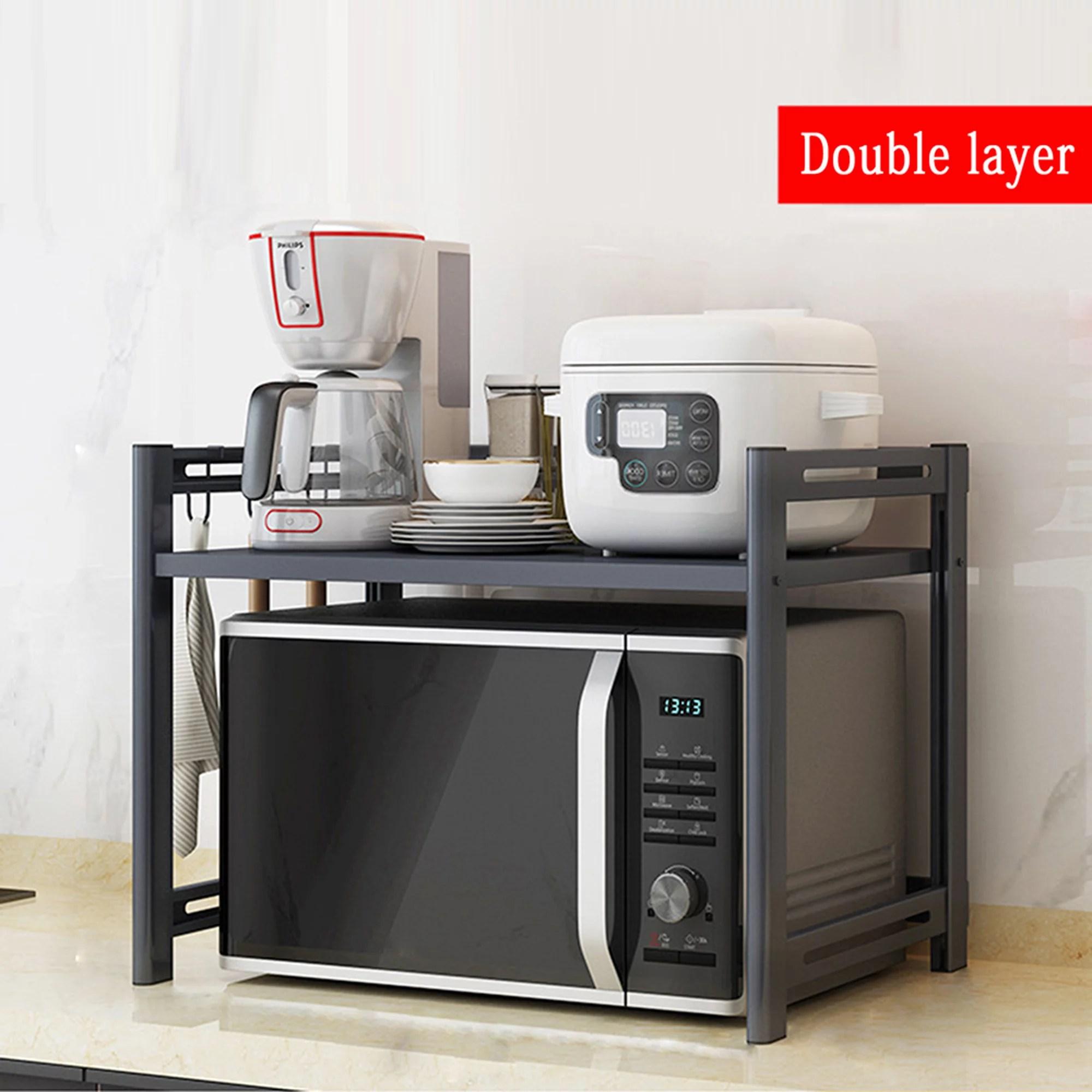 2 layers microwave shelf stand microwave counter stand microwave oven rack countertop toaster oven shelf metal kitchen walmart com