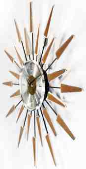 Sunburst Clock Mid Century Modern Wall Decor Vintage Starburst Retro Metal Art Wall Clocks