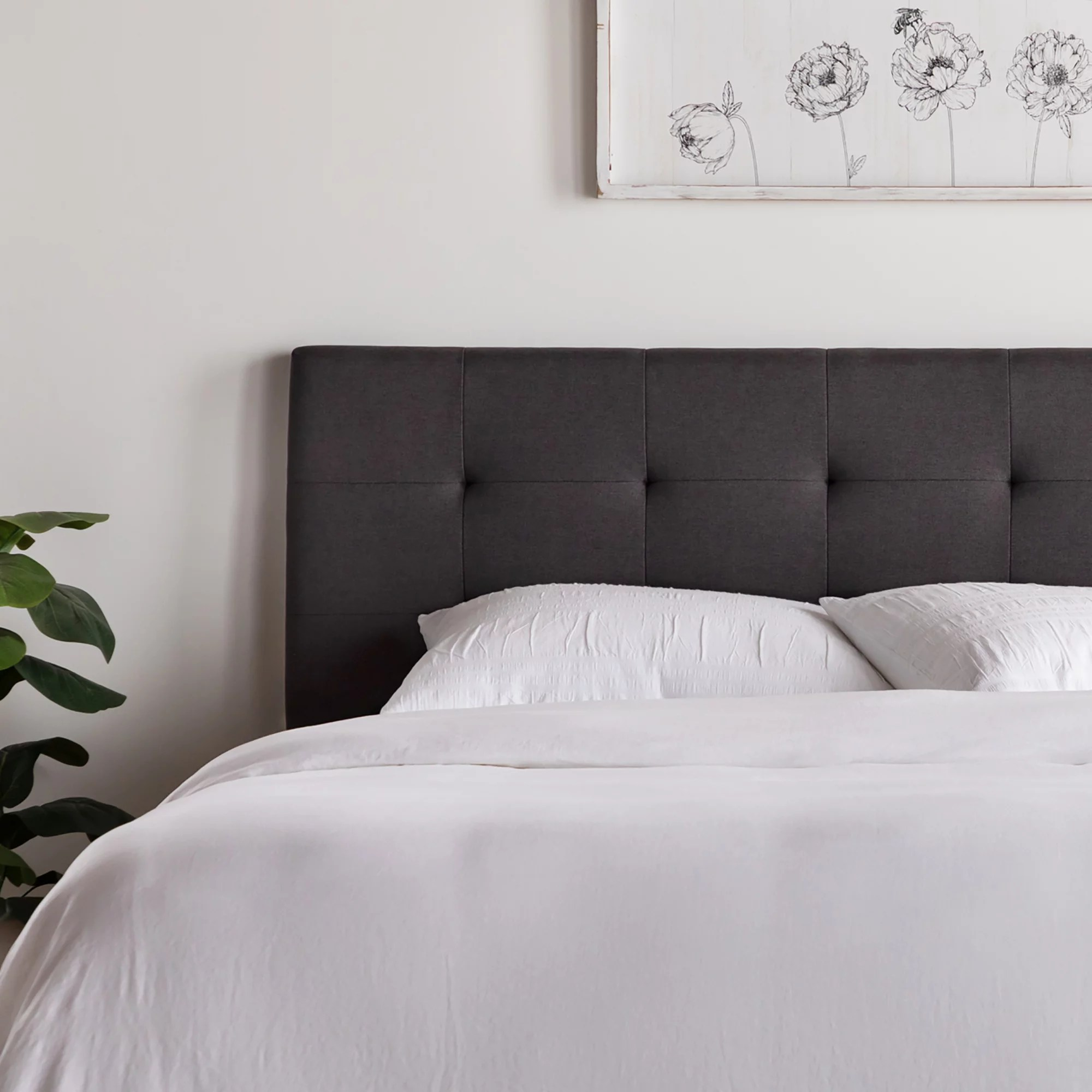 rest haven upholstered square tufted mid rise headboard queen charcoal